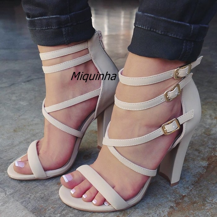 где купить Trendy Buckle Design Cage Strappy Chunky Heel Sandals Beige PU Leather Cut-out Open Toe Heels Classy Block Heel Dress Sandals дешево