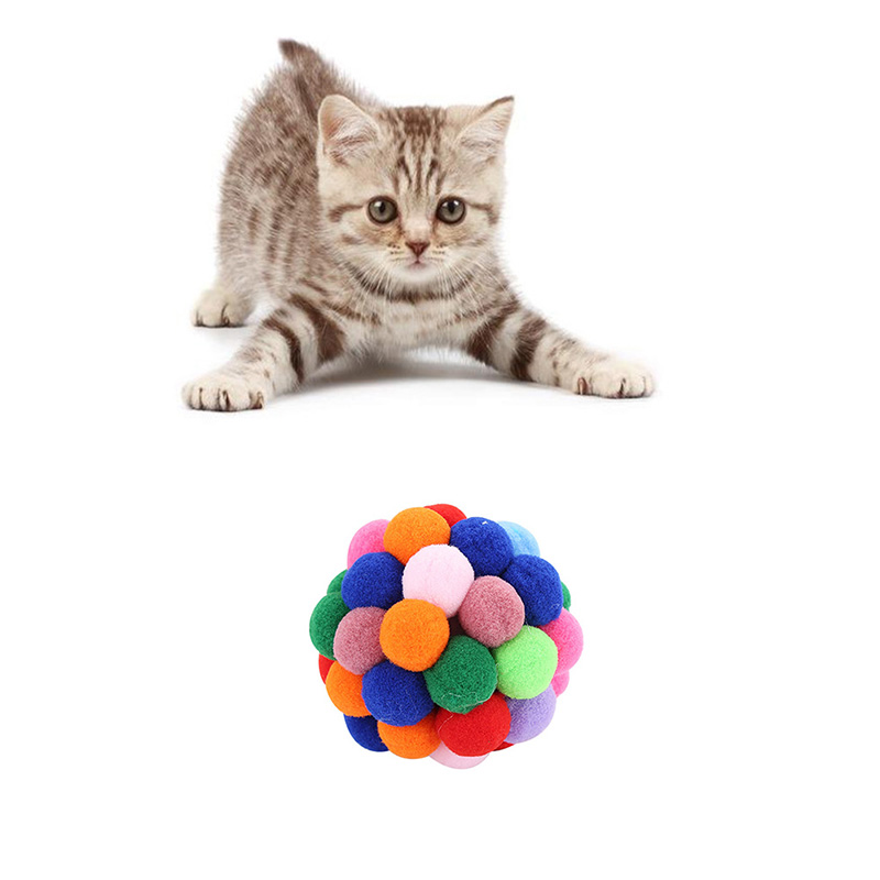 1PC 2019 New Pet Cat Toy Colorful Handmade Bells Bouncy Ball Built In Catnip Interactive Toy Color Randomly in Cat Toys from Home Garden