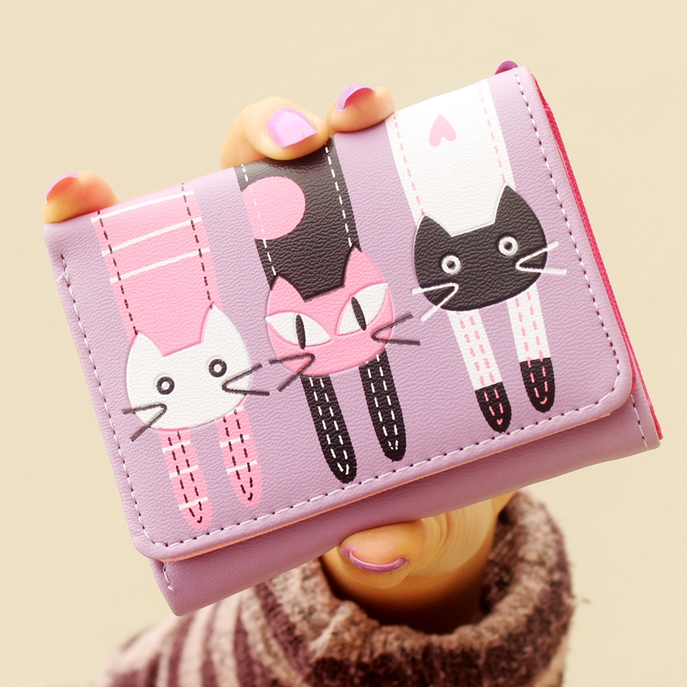Girl's Cute Cat wallet Cartoon children's Kid's 3 folding Short wallets and purses women Lady coin BAG card holder small wallets wallet female cat anime women purses leather cute trifold slim wallets short card holder coin purses small korean women wallets