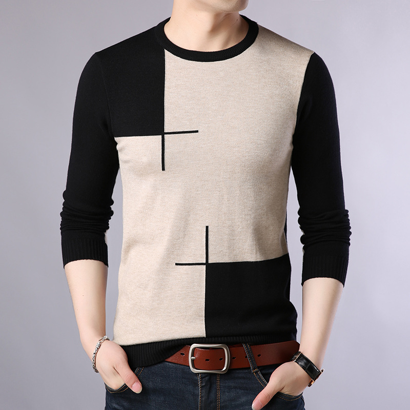 Men's Sweater Pullovers Slim-Fit O-Neck Homme Knittwear Autumn Casual M-3XL