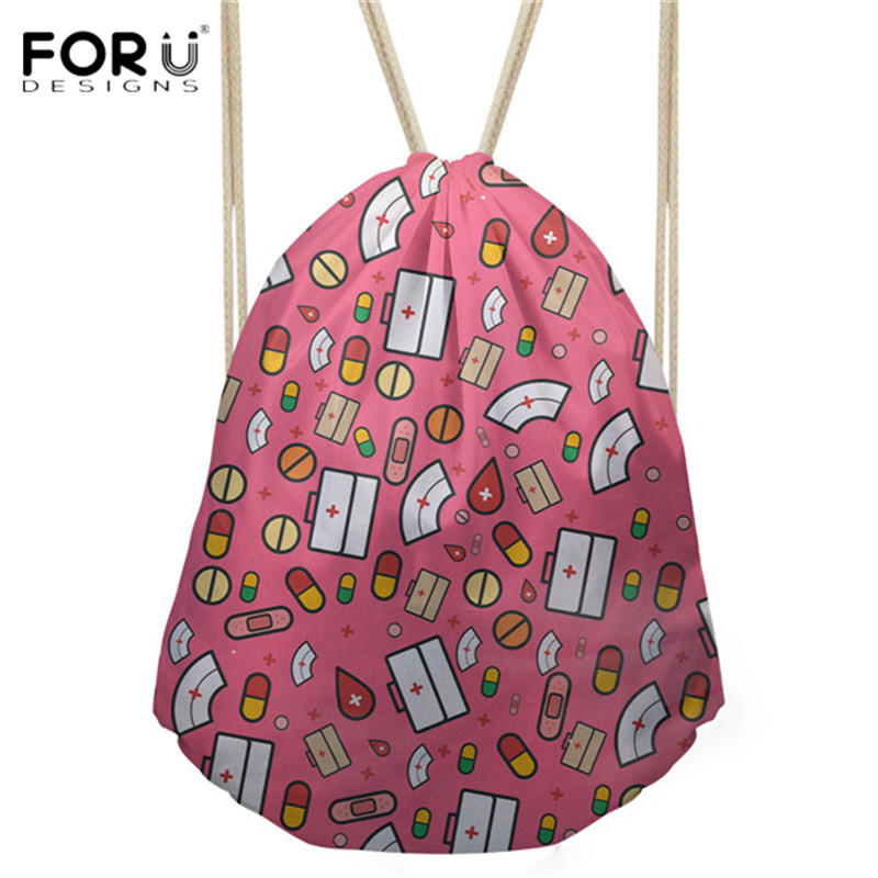 FORUDESIGNS Cartoon Nurse Pink Design Female Drawstring Bags Daily Travel String Backpacks Girls Sack Bags For Women 2018 Pouch