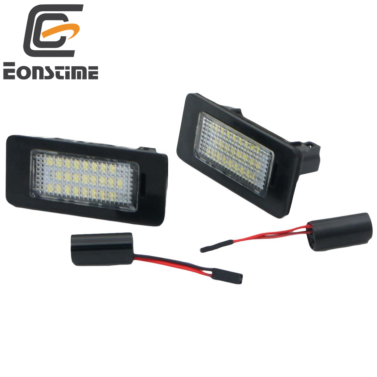 Eonstime 2Pcs 18SMD LED License Plate Number Light Lamp For VW Golf VI Variant Jetta Passat Variant Sharan 7N Touran GP2 Touareg high quality plastic and led bulbs 2pcs white error free 18 led license plate light lamp kit for vw golf eos passat polo phaeton