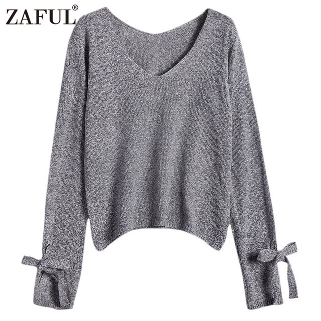 2f35850e8ead34 ZAFUL Autumn Winter Women Sweaters Pullovers Grey Basic Jumpers V Neck Bow  Tied Long Sleeve Loose