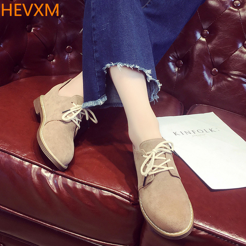 HEVXM 2017 spring autumn The New Ms fashion Wild Leisure Lace Flat shoes College winds England Suede Shoes 35-39 wild mammals of new england