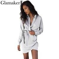 Glamake Autumn Belt Satin Wrap Dress Shirt Elegant Long Sleeve Slim Party Sexy Dress 2016 Winter