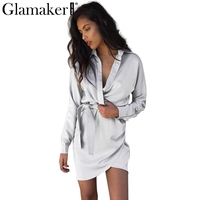 Glamake Autumn Belt Satin Wrap Dress Shirt Elegant Long Sleeve Slim Party Sexy Dress 2016 Winter