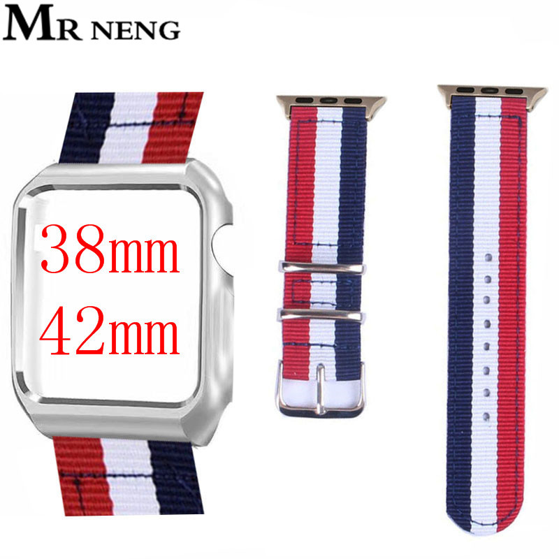Mr Neng Nylon Strap Watch Band For iwatch 3/2/1 Canvas Watchband Wrist Bracelet Woven Nylon Watchband For apple watch 42mm 38mm canvas nylon watchband tool for garmin fenix 5 forerunner 935 fr935 leather watch band sports strap steel buckle bracelet