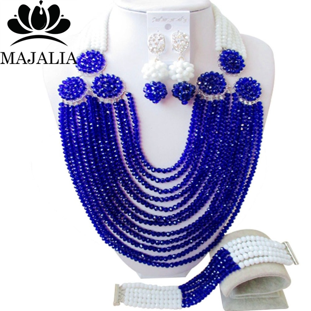 Fashion African beads jewelry set Royal Blue crystal beads bride jewelry nigerian wedding african beads jewelry Set  GG-462Fashion African beads jewelry set Royal Blue crystal beads bride jewelry nigerian wedding african beads jewelry Set  GG-462