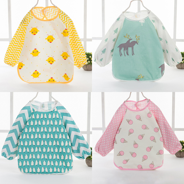 Cute Baby Bibs Cartoon Baby Bibs Newborn Apron Long Sleeve Baby Feeding Apron Waterproof Bibs Kids Stat Saliva Towel Baby Cloth