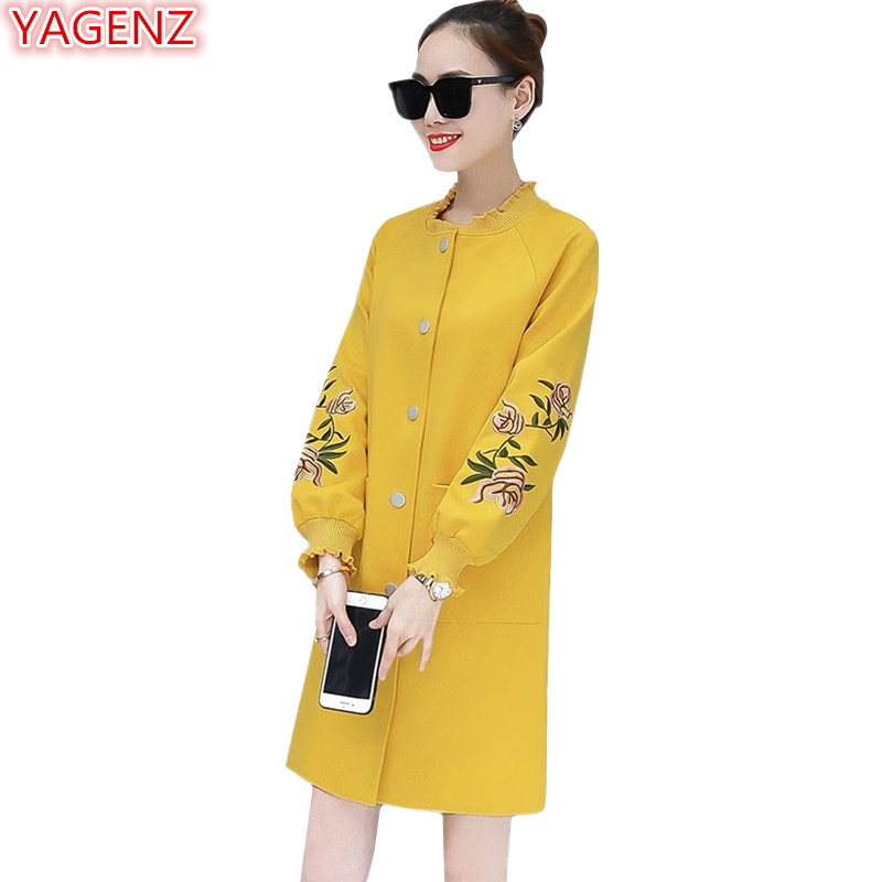 YAGENZ Spring Autumn Flower Embroidered Trench Coat Women Fashion Wild Female Windbreaker Coat Long section Thin Casual style990