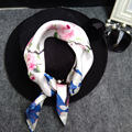 Шелковые Шарфы для Женщин Мода Небольшая Площадь Пятна Neckchief Роскошных женщин 100% Шелковый Шарф Дамы Платки Soie Волос шарф