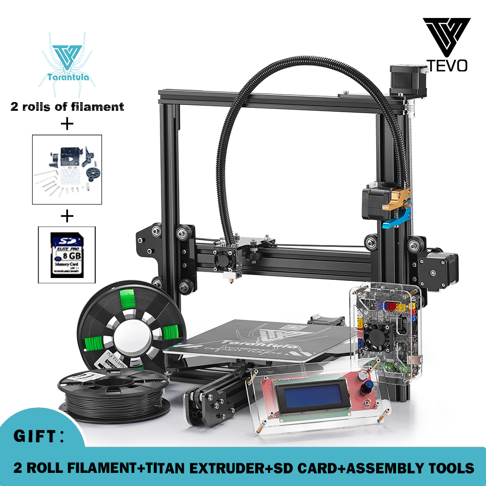 2017 Newest TEVO Tarantula Prusa I3 Impresora 3D 3D Printer DIY Impressora 3D with Filaments SD Card Titan Extruder TEVO 3D 2017 newest tevo tarantula prusa i3 3d printer diy kit