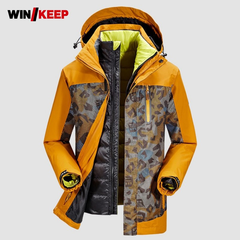 Новинка 2019, камуфляжная зимняя мужская лыжная куртка, белое пуховое пальто, походная куртка, плюс размер, тактическая ветровка