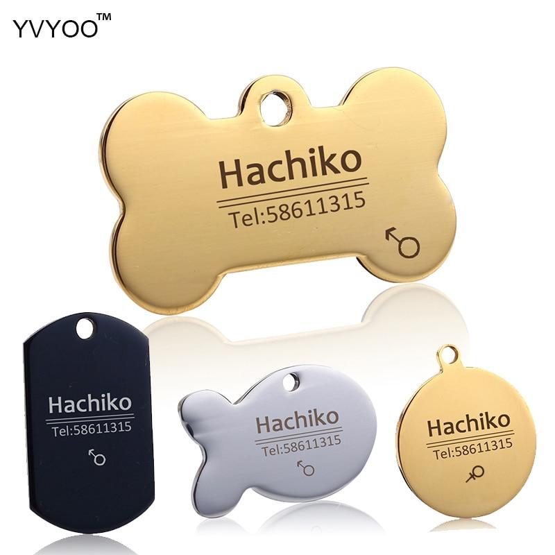 YVYOO الفولاذ المقاوم للصدأ كلب طوق الاكسسوارات تخصيص اسم القط الكلب معرف بطاقة الهاتف النقش الحر لغات متعددة AA
