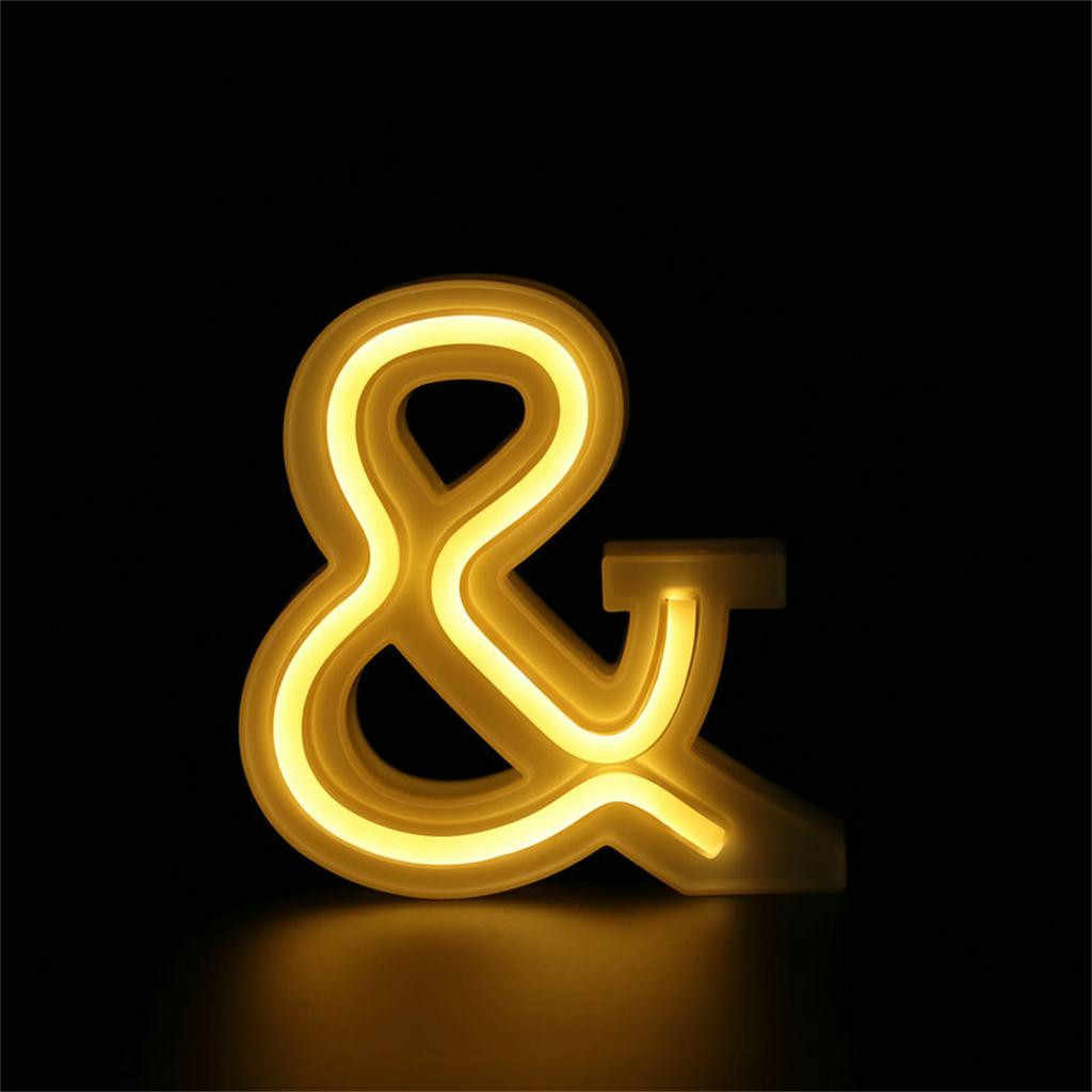 3D 26 Letter Alphabet LED Light USB Letter Lights Light Up White Indoor Wall Hanging Night Lamp for Wedding Party Decor A-Z &