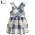 ELE Olá Desfrutar 8year Crianças Meninas Vestido azul Casual xadrez sem mangas Vestido de Princesa Partido Das Meninas traje