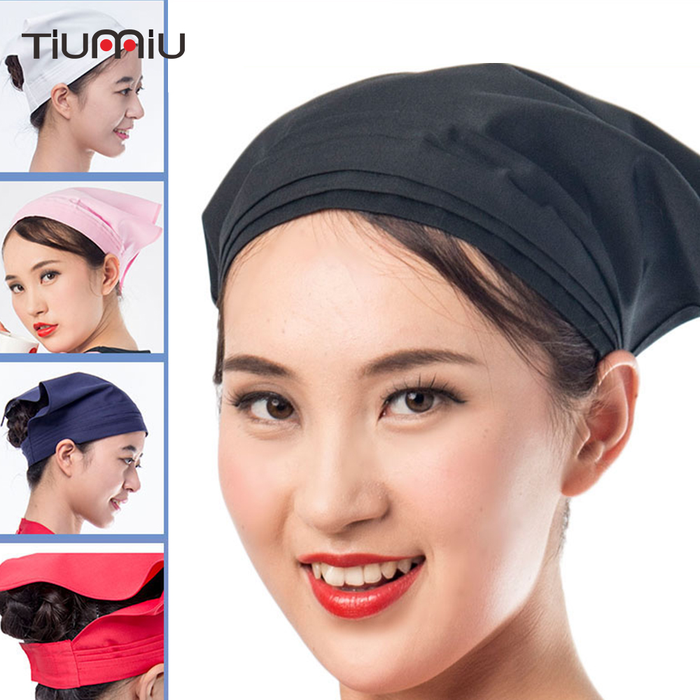 Chef Waiter Hat Kitchen Headscarf Smokeproof Restaurant Canteen Bakery Hygienic Hat Waiter Work Cooking Cap Triangle Towel