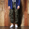 New Arrival Men`s Camo Cargo Pants 100% Cotton Multi-Pockets European and American Style Military Tactical Trousers