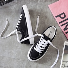 Women sneakers 2019 new arrivals fashion lace-up black/white women shoes solid sewing shallow casual canvas shoes women