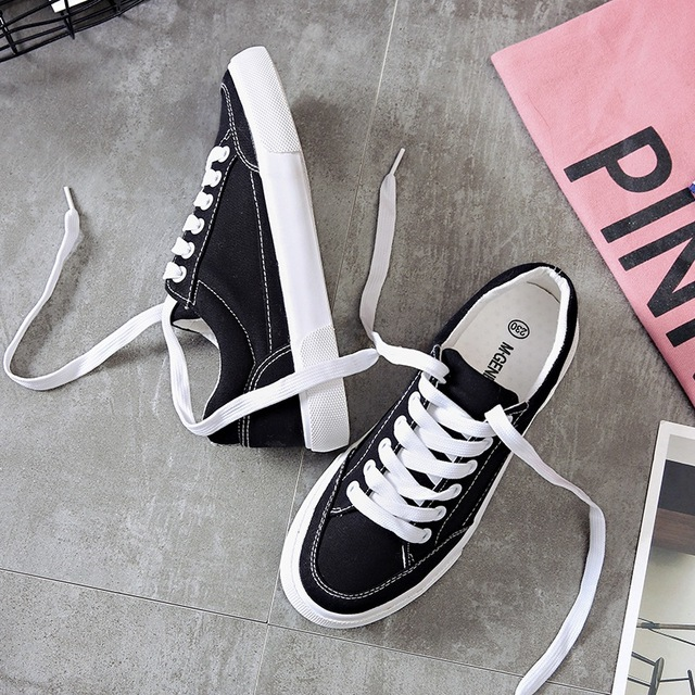b836a507b6 Women sneakers 2018 new arrivals fashion lace-up black/white women shoes  solid sewing shallow casual canvas shoes women