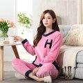 Coreano pijamas de inverno de espessura coral de veludo longo-sleeved bonito outono e inverno flanela quente casa terno pijama das senhoras de inverno