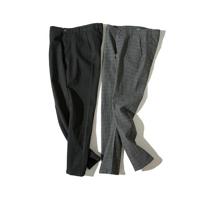 Icpans Men Suit Pants Length Black Gray Business Plaid Trousers Men Formal Chinos Office Pants Male Trousers Slim Plus SIze 40