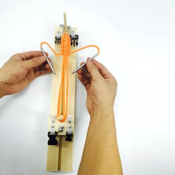 Bransoletka narzędzie dziewiarskie nadgarstek narzędzie dziewiarskie DIY drewno Paracord Jigs bransoletka Maker nadgarstek Maker Jig tanie i dobre opinie Paracord Bracelet Maker IQiuhike