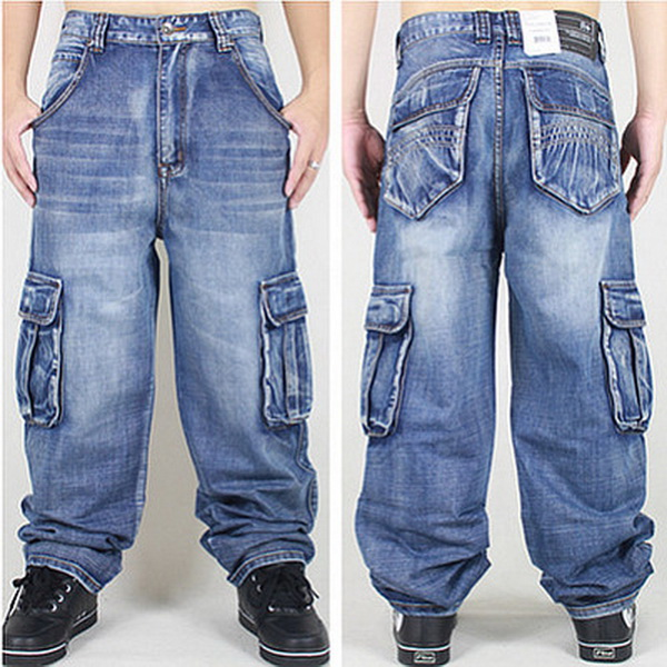 2017 New Men Hip-Hop Jeans Mens Long Fashion Skateboard Baggy Relaxed Denim Casual HIPHOP Men Multi-pocket Pants Large size 46 hot new large size jeans fashion loose jeans hip hop casual jeans wide leg jeans