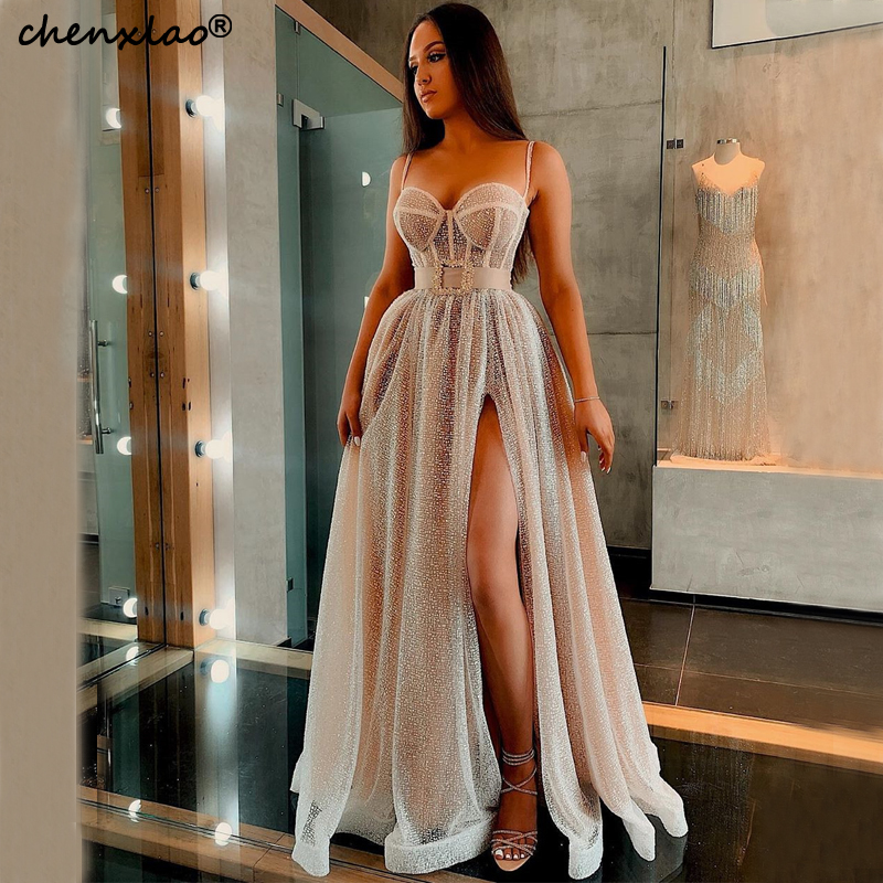 Charming 2019 Evening Dresses Long A-Line  Sweetheart Spaghetti Strap Split Floor Length Evening Dress Formal Party Gowns