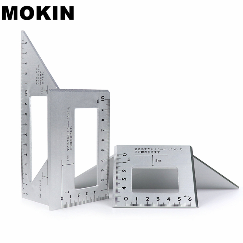 Aluminum Alloy Square Angle Ruler 45 degrees 90 degrees Gauge Protractor For Multifunctional Carpenter Woodworking Tools