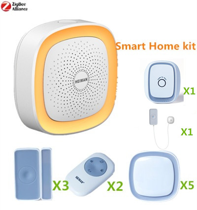 Hot Selling 868Mhz Home Alarm Kit Zigbee Gateway Smart Alarm System with Gas detector and water leakage sensor z wave plus gas water auto valve smart home automation controller work with water leak sensor alarm gas leakage sensor