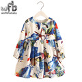 Retail 2-8 Milan Princess Dress Flax Long Sleeve Clothing Baby Girl Cute Korean Seabed Fish Floral Print Spring fall 2016 New
