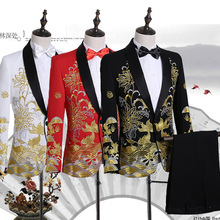 Cozimastarla New Chinese Style Mens Wedding Dress Suits Stage Singer Performance Costumes Embroidery 2-piece Set Groom