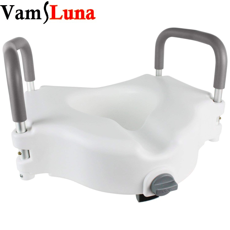 Portable Elevated Riser with Padded Handles Toilet Seat Lifter for Bathroom Safety Assists Disabled Elderly or