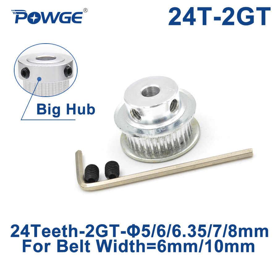POWGE GT 24 зубья 2M 2GT зубчатый шкив Диаметр отверстия 5/6/6 35/7/8 мм для GT2 открытая