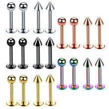 Lot 1Piece Surgical Steel Assorted Colors Labret Stud Lip Piercing Ear Cartilage Tragus Helix Ring Fashion Charming Jewelry