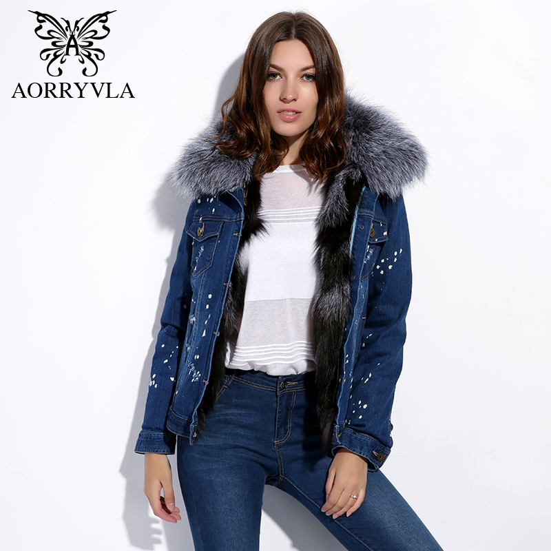 AORRYVLA 2018 New Winter Jacket Women Fur Collar Natural Raccoon Fur Collar With Fox Fur Liner Fashion Short Parka Female