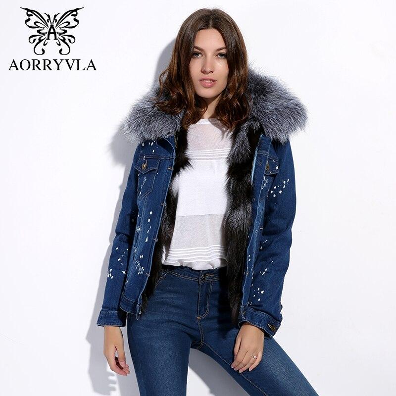 AORRYVLA Fashion Short Denim Fur Jacket Women Winter 2017 Frayed Vintage Raccoon Fur Collar With ...