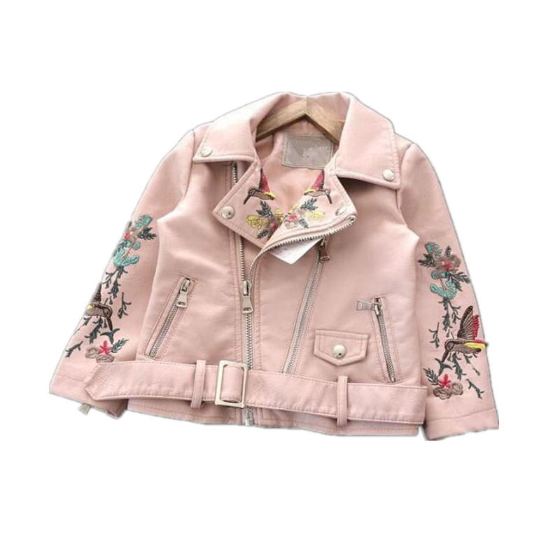 YB905780 2018 Autumn Girls Jacket Girl Coat For Girls Jacket Leather Embroidery Girl Outerwear Faux Leather Fashion Baby Jacket embroidered faux leather zip up jacket