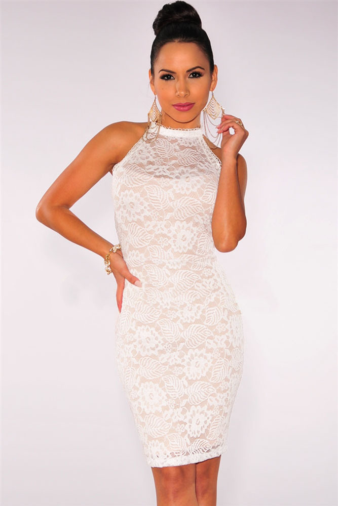 43542de2623fd US $34.2  Classic Elegant Womane Black/White Floral Lace Halter Double  Strap Back Dress Wholesale Cheaper Price LC22269 Bodycon Lace Dress-in  Dresses ...