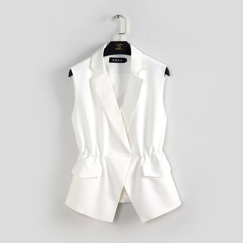 S-2XL New OL fashion women Suit vest short style Elastic waist slim elegant office big size female tops black white jackets