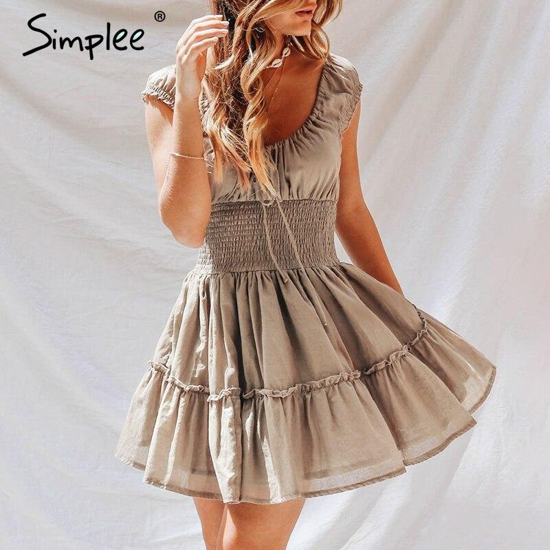 Simplee винтажные плиссированные Бальные платья с круглым вырезом для взрослых женщин, кружевные льняные короткие платья цвета хаки, повседне...