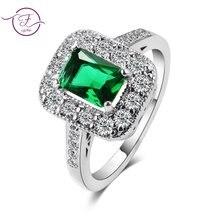 Женское кольцо из серебра 925 пробы с изумрудом размеры 678910