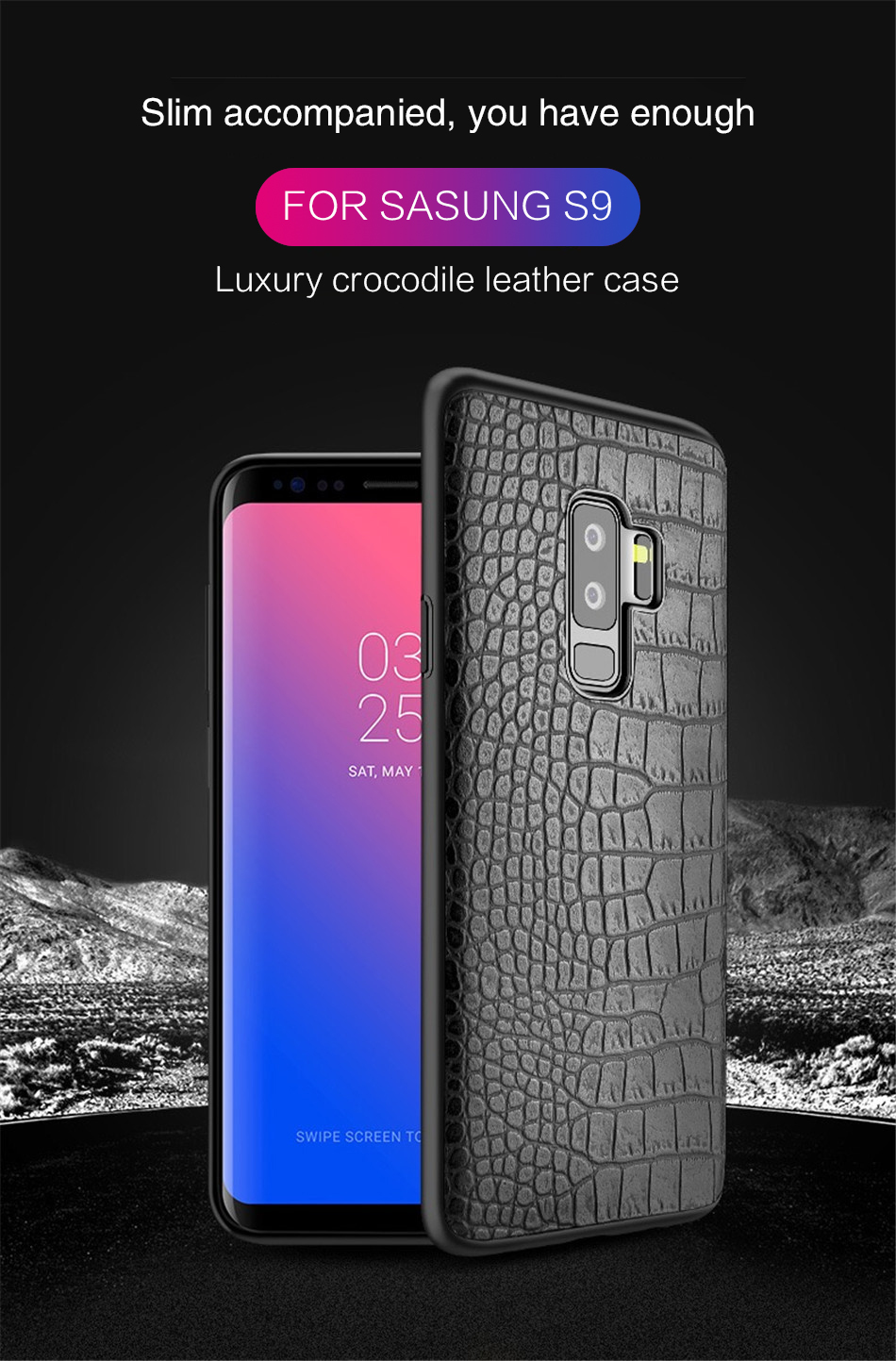 Retro Crocodile Snake Case For Samsung S8 S9 Plus Note8 Art Print PU Leather Soft Luxury Phone Back Cover For Samsung Note 8 S9 (1)