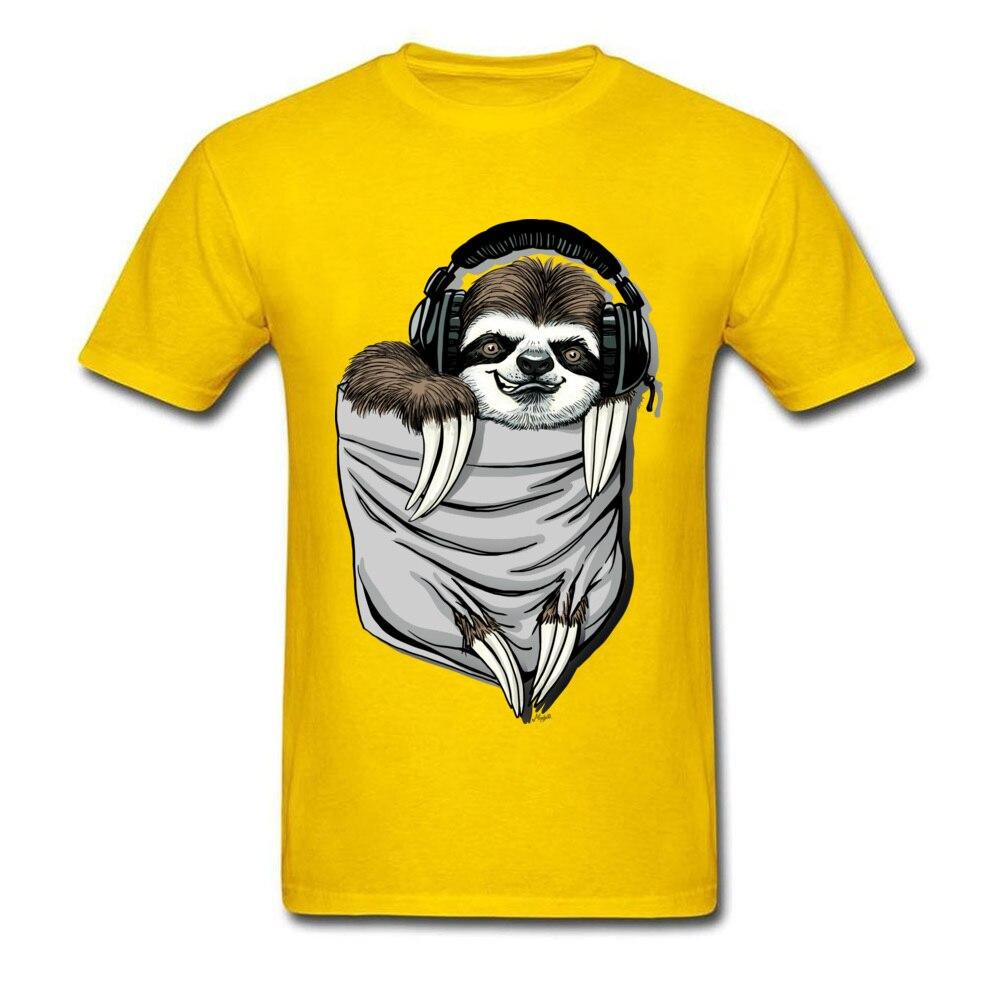 Прочный Шарм DJ Музыкальная гарнитура Ленивец Спортивная футболка мужская Спортивная Футболка серая футболка Kawaii дизайн карманный монстр одежда - Цвет: Yellow