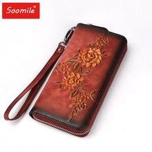 508979f013e5 Европейская и американская мода ретро дерево высокая кожаная сумка на  молнии кожа замша кожа ручная роспись