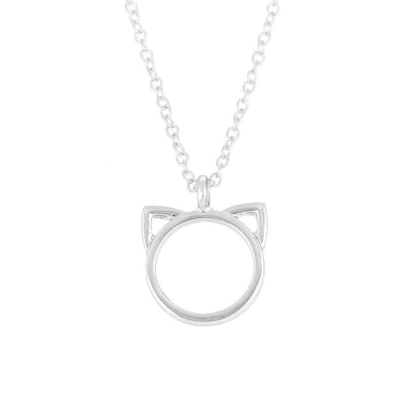 Cat Face Outline Pendant Necklace