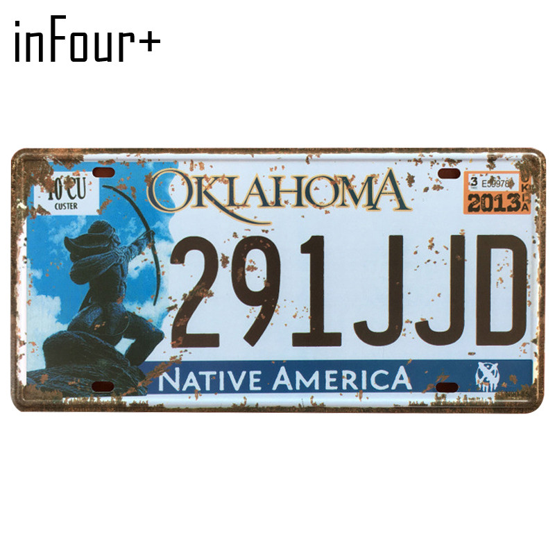 [inFour+] 291JJD License Plate Metal Plate Car Number Tin Sign Bar Pub Cafe Home Decor Metal Sign Garage Painting Plaques Signs