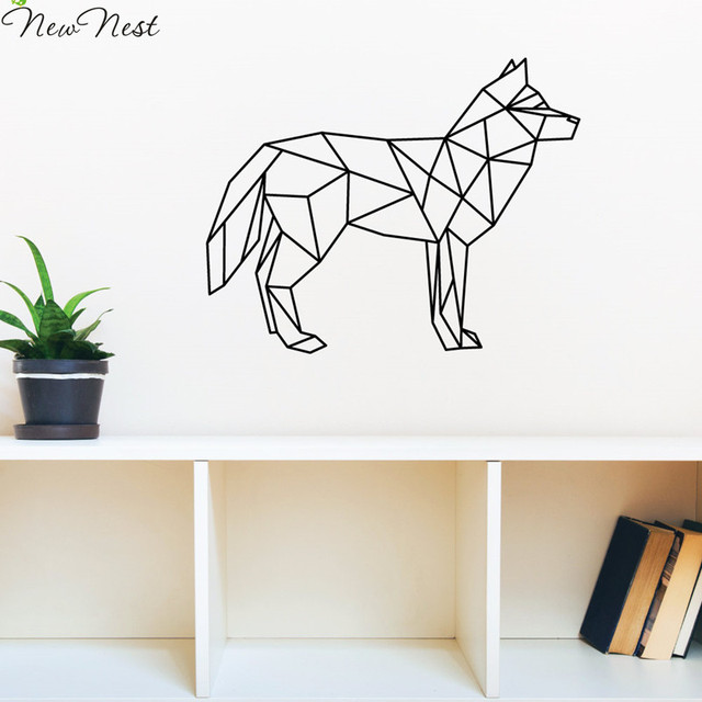 Free Shipping Geometric Animals Wolf Wall Decal Vinyl Sticker Home Decor Wolf Wall Art Mural
