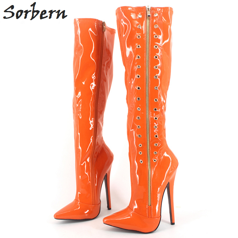 Sorbern Mid-Calf Plus Women Boots Zipper 18CM Heels Plus Size Unisex Gay Dance Custom Made Color Pointed Toe Large 36-46 Size plus size oblique zipper color block hoodie